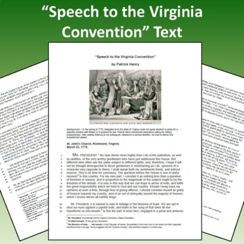 """Speech to the Virginia Convention"" by Patrick Henry: Text, PPT, Questions, Voc."