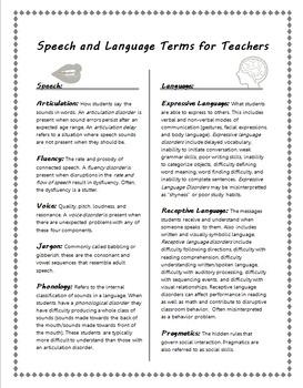 Speech vs. Language Terms for Teachers