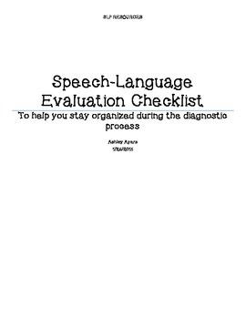 Speech/Language Evaluation Checklist