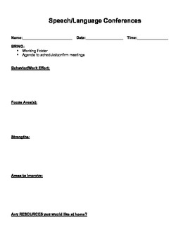 Speech/Language Parent/Teacher Conference Form