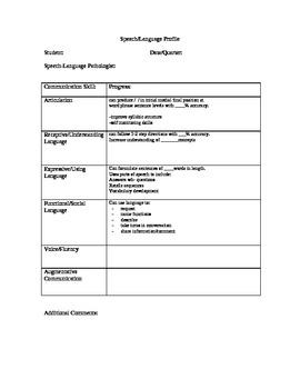 Speech/Language Profile