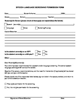 Speech-Language Screening Permission Form {Editable}