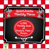 SpeechSnacks Monthly Menus {FREE}