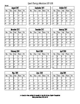 Speech Therapy Attendance Calendar 2017-2018