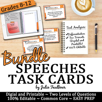 Speeches Analysis Task Cards, Digital and Printable BUNDLE