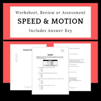 Calculating Speed Worksheet, Review Sheet or Quiz