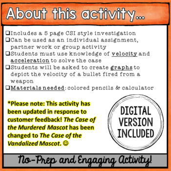 Speed & Acceleration Activity: The Case of the Murdered Mascot