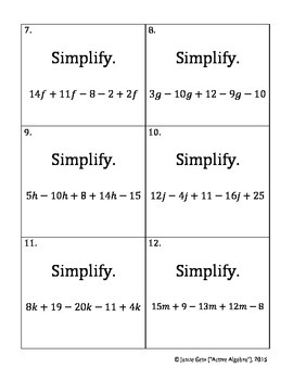 Speed Dating Activity: Simplifying Expressions - Combining Like Terms