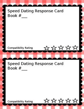 Speed dating rating cards