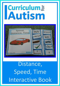 Speed, Distance, Time Interactive Adapted Book, Autism Mat