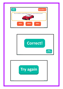 Speed Distance Time No Print Interactive PDF, Middle School Physics, Math