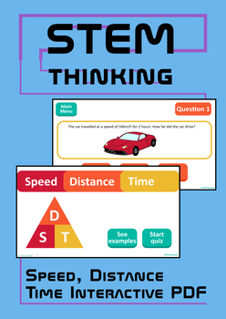 Speed Distance Time Paperless Interactive PDF, Middle School Physics, Math