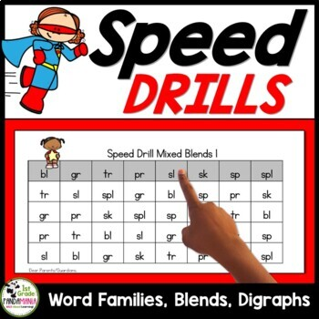 Word Families with Blends and Digraphs Speed Drills