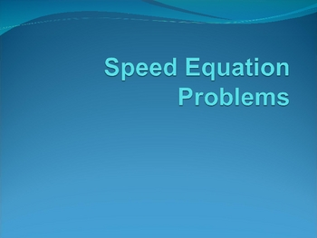 Speed Equation Problems (13)