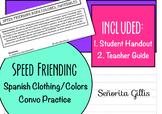 Speed Friending-Clothing, Colors (Basic/Novice Spanish Conversation Activity)