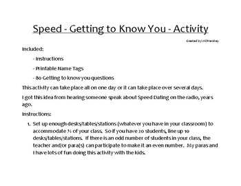Speed - Getting to Know You - Activity