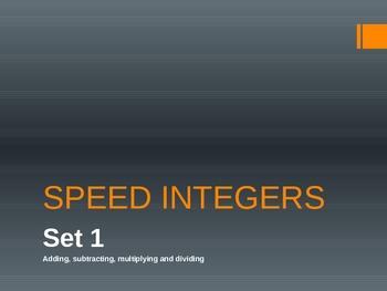 Speed Integers Set 1 - Add, Sub, Mult, Div Practice