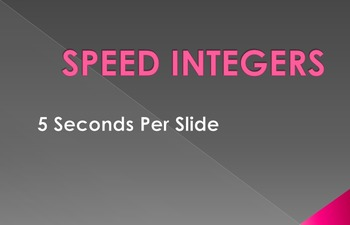 Speed Integers Set 5 - Adding and Subtracting Positive and Negative Numbers