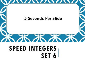Speed Integers Set 6 - Adding and Subtracting Positive and Negative Numbers