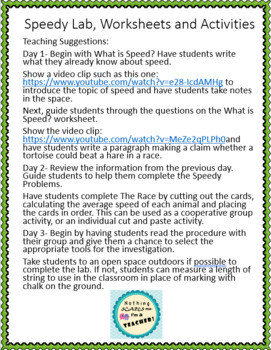 Average Speed Hands-On Lab Activity and Worksheet Bundle NGSS 4-PS3-1