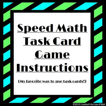 Speed Math Task Card Game Instructions By 4 The Love Of Math Tpt