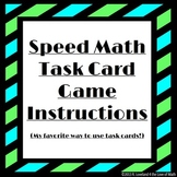 Speed Math Task Card Game Instructions