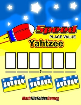 """""""Speed"""" Place Value Yahtzee {Place Value Game}"""