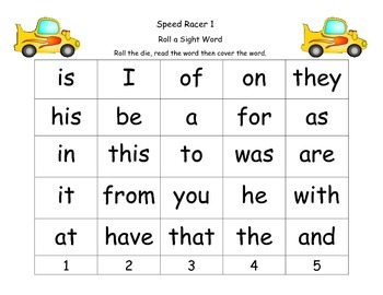 Roll A Word-Speed Racer Theme