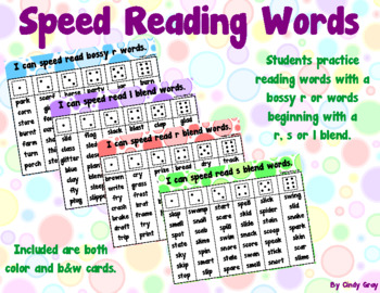 Speed Reading Blends and Bossy R Words