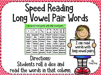 Speed Reading Long Vowel Pair Words