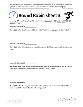 Speed Round Robin Activity