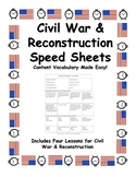 Speed Sheets - Civil War and Reconstruction