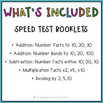 Speed Test Booklets BUNDLE - Number Facts