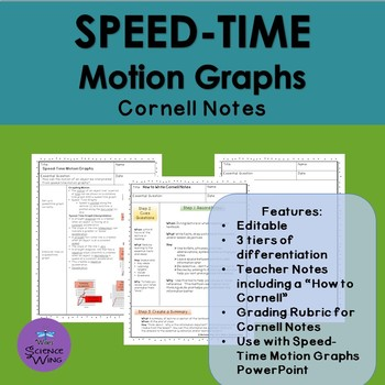 Speed Time Motion Graphs Cornell Notes- Differentiated
