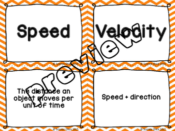 Speed, Velocity & Acceleration Card Sort