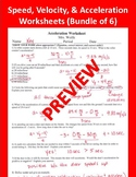 Speed, Velocity, & Acceleration MATH Worksheets (Package of 6)