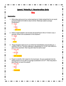 Speed, Velocity & Acceleration Quiz