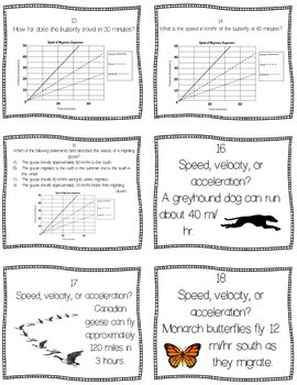Speed, Velocity, & Acceleration Task Cards (Distance Learning &Google Classroom)