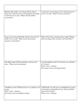 Speed, Velocity, Time, Acceleration Formula Worksheets