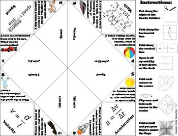 Speed, Velocity and Acceleration Activity/ Foldable