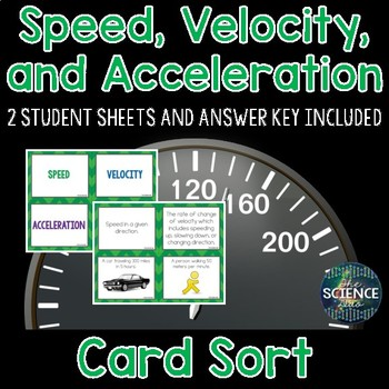 Speed, Velocity, and Acceleration Card Sort