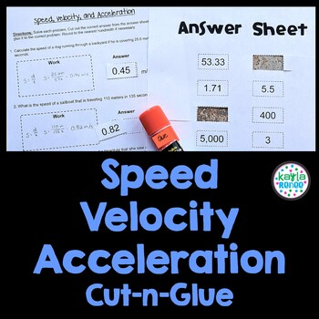 Speed Velocity And Acceleration Engaging Cut And Glue Worksheet