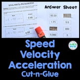 Speed, Velocity, and Acceleration Engaging Cut and Glue Worksheet