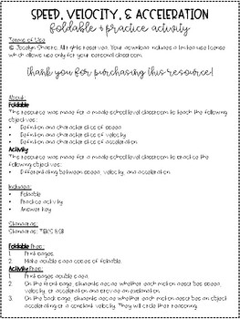 Speed, Velocity, and Acceleration Foldable & Practice Activity
