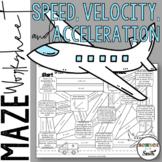 Speed, Velocity, and Acceleration Maze Worksheet