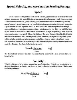 Speed, Velocity, and Acceleration Mini-Unit