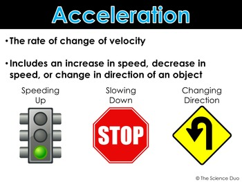 Speed, Velocity, and Acceleration - PowerPoint and Notes
