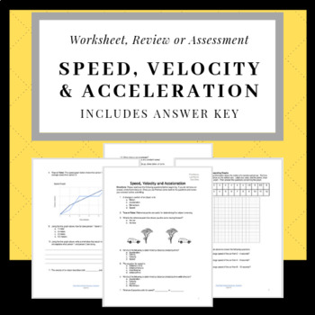 Calculating and Graphing Speed, Velocity, and Acceleration. Quiz or Worksheet