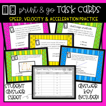Speed, Velocity and Acceleration Task Cards {NO PREP}