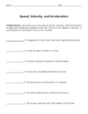 Speed, Velocity, and Acceleration WS MOD